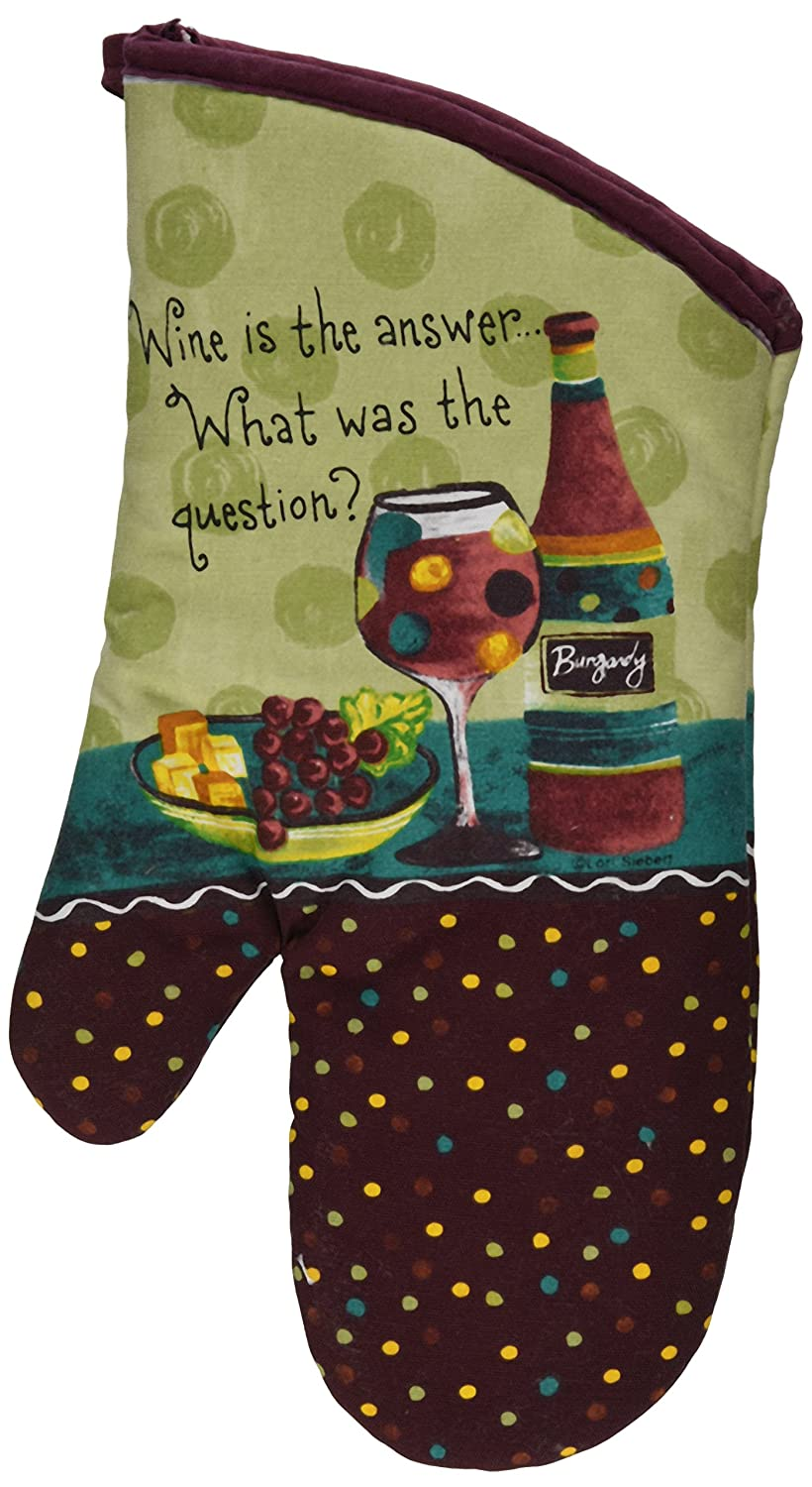 Kay Dee Designs Cotton Oven Mitt, Wine is The Answer
