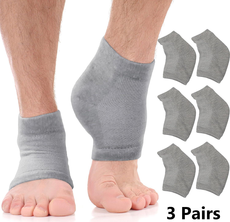 Moisturizing Socks Cracked Heel Treatment - Treat Dry Feet & Heels Fast. Pain Relief from Cracking Foot Skin with Aloe Moisturizer Lotion Infused Gel Heel Socks. Pedicure for Both Women & Men (Large)