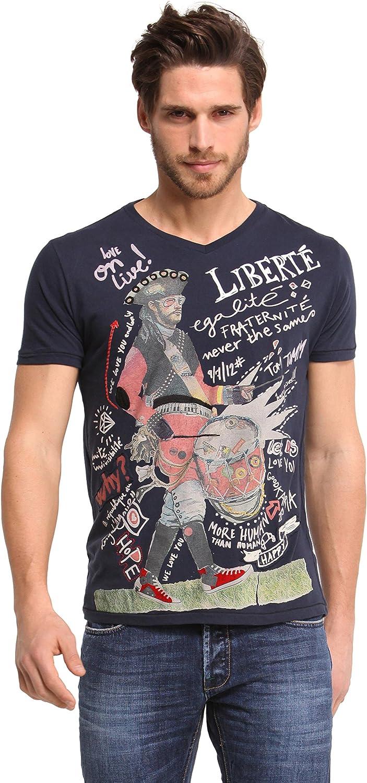 Desigual - Camiseta de manga corta con cuello redondo para hombre, color marino 5001, talla xl: Amazon.es: Ropa y accesorios