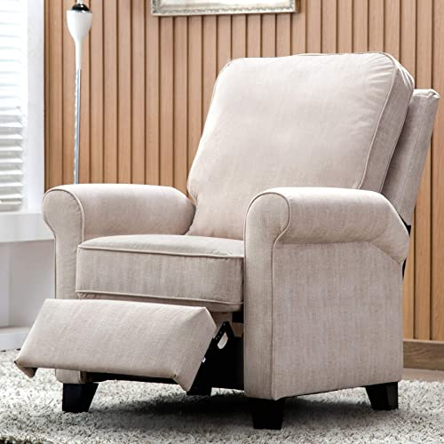 ANJ Recliner Chair Roll Arm Push Back Recliner with Back Cushion for Living Room Cream