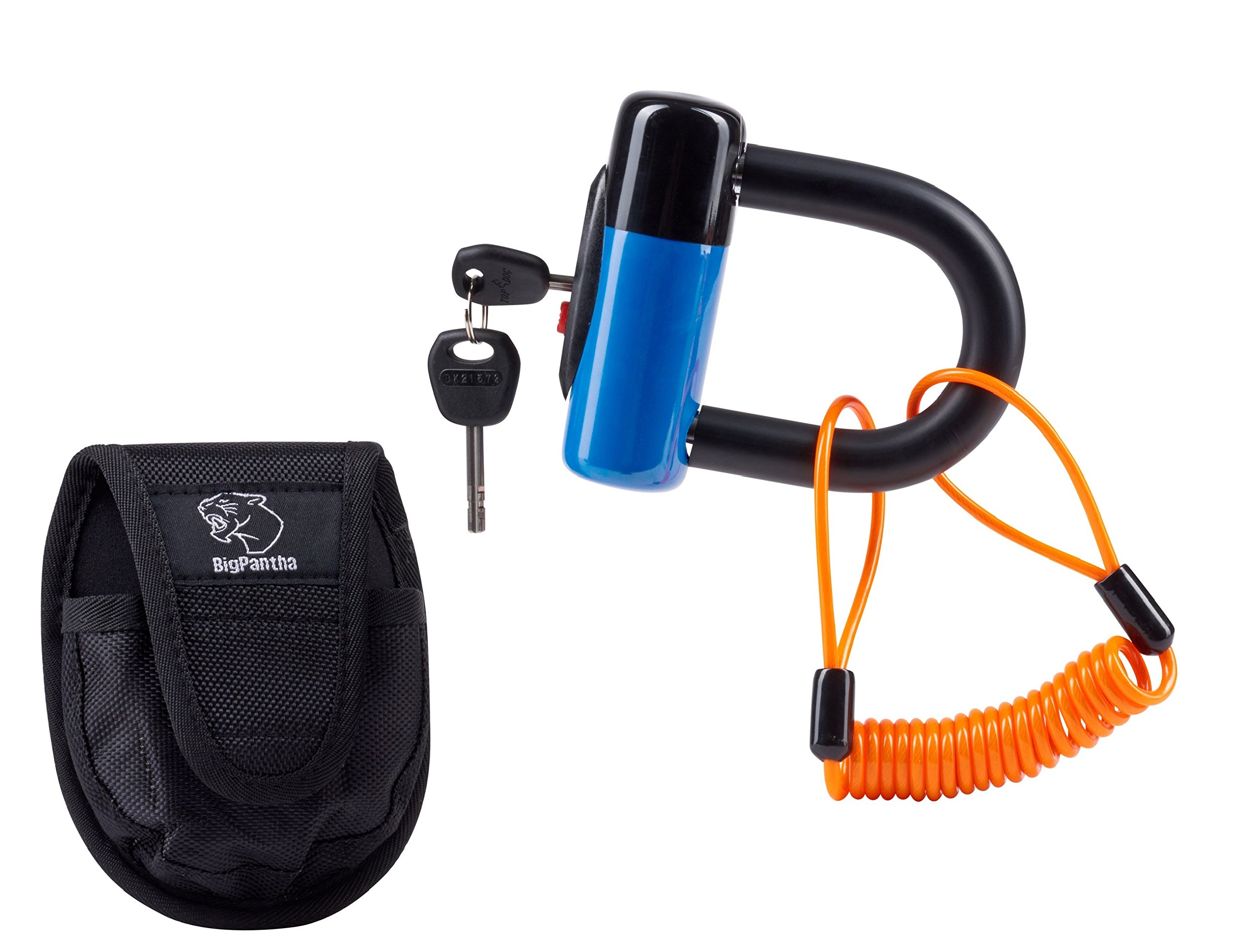 Universal Motorcycle Disc Brake Lock (U-Lock Bike Lock Model). RELAX Your Motorbike is Very Safe Using This Device! Includes Highly Visible Reminder Cable & Holster. From BigPantha (Blue Version).