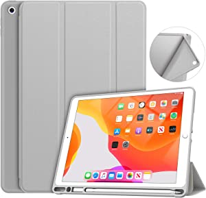 Soke iPad 7th/8th Generation Case,Compatible iPad 8th Generation(2020 Releases),iPad Case 10.2 Case with Pencil Holder, Lightweight Smart Cover with Soft TPU Back,Auto Sleep/Wake (Grey)