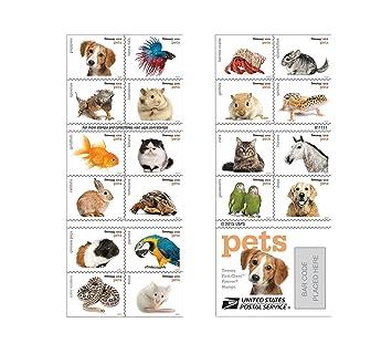 Amazon.com: Estampillas USPS. 20 estampillas de mascotas ...