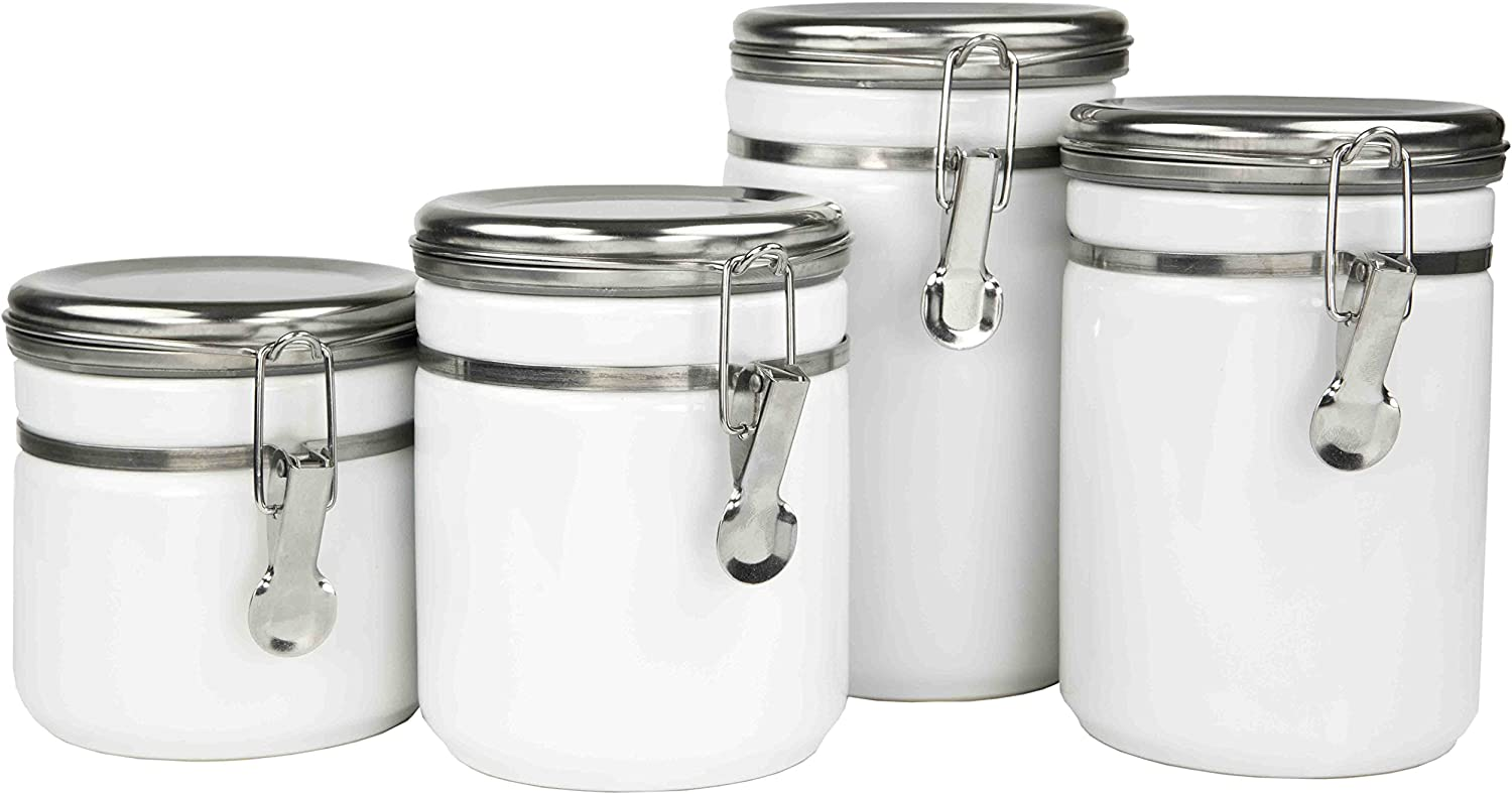 Home Basics 4 Piece Canister Food Storage Set with Stainless Steel Top, White