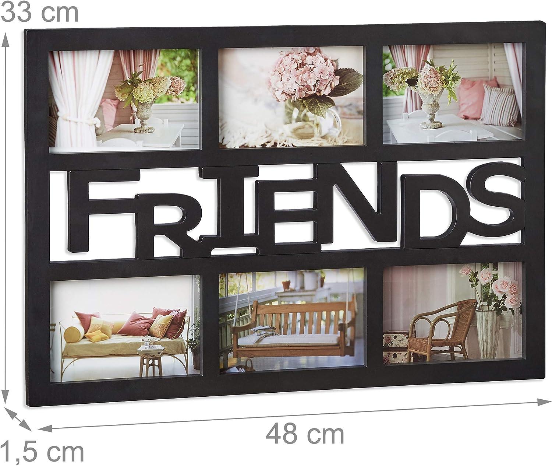 33 x 48 x 1,5 cm Relaxdays 10021992  Cadre photos Friends pour 6 photos Galerie Phototh/èque mural plastique HxlxP blanc
