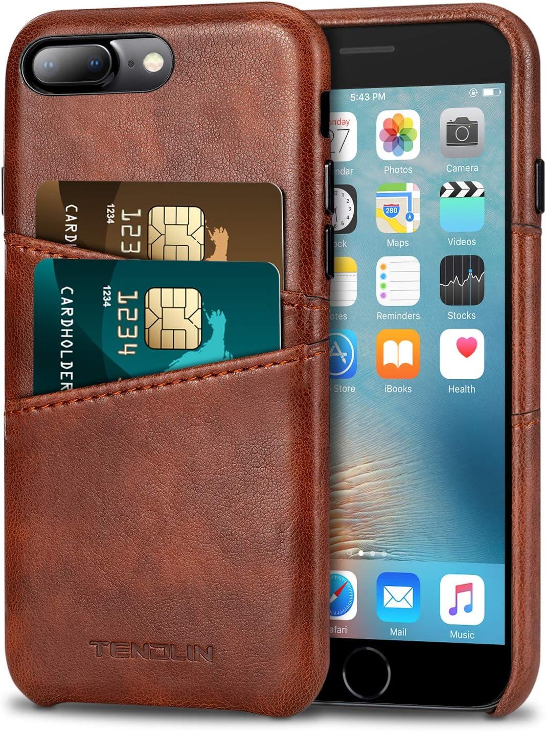 TENDLIN Compatible with iPhone 7 Plus Case/iPhone 8 Plus Case Wallet Design Premium Leather Case with 2 Card Holder Slots Compatible with iPhone 7 Plus/iPhone 8 Plus (Brown)
