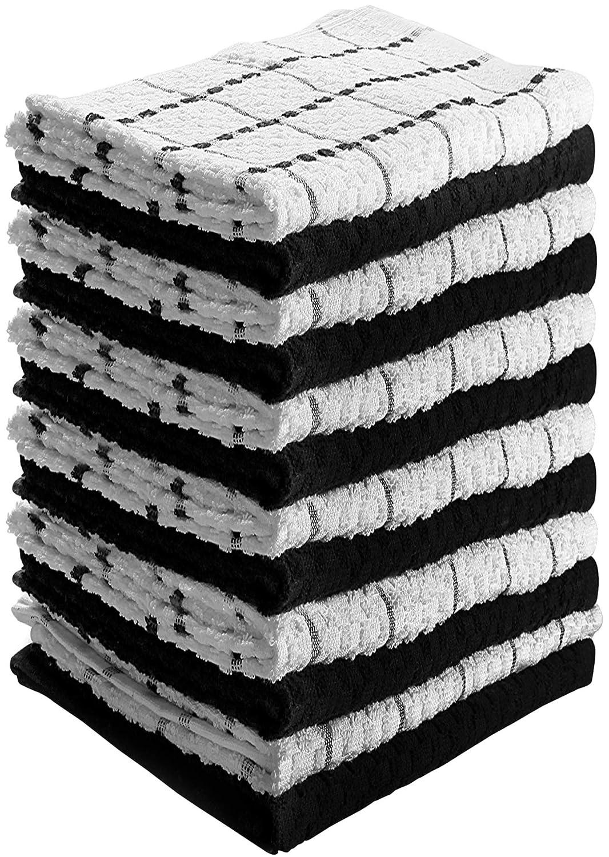 Noir et Blanc Serviettes de Cuisine 100/% Coton Lavable en Machine 12 Torchons de Cuisine 38 x 64 cm Utopia Towels