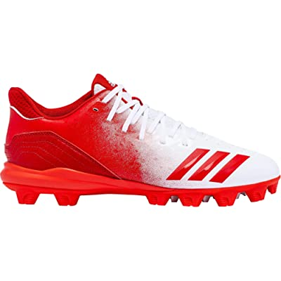 adidas Mens Icon 4 Splash MD Baseball Cleats (8.5, White/Red) | Baseball & Softball