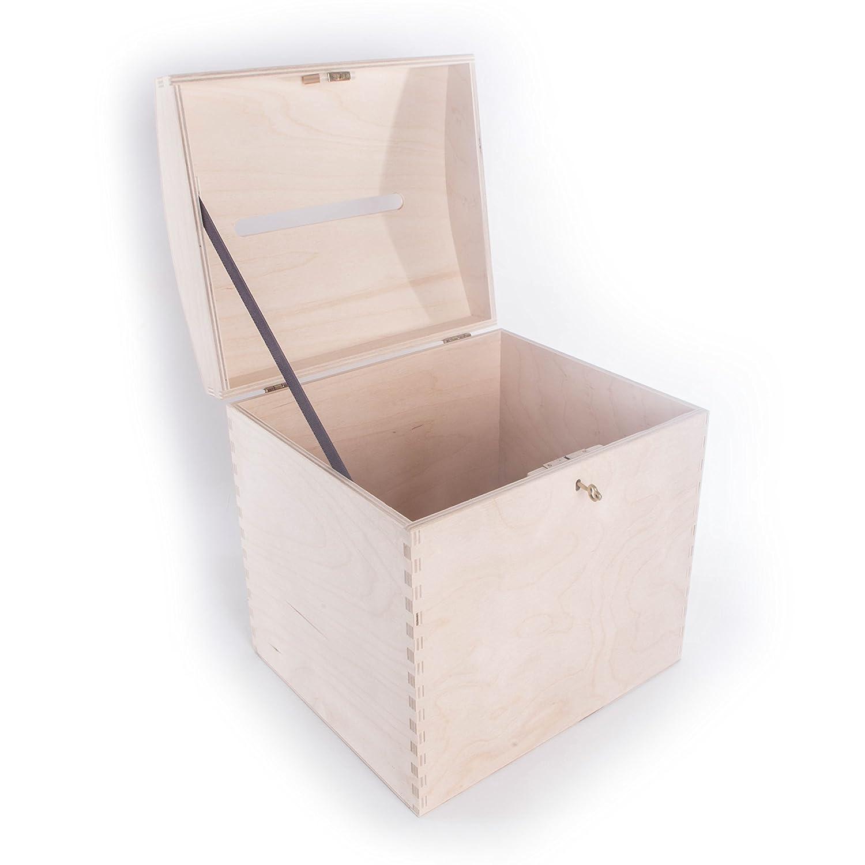 SEARCHBOX Gran Cofre del Tesoro de Madera con Cerradura buzón de Correos con Ranura/Wishing Well boda/29 x 25 x 30 cm: Amazon.es: Hogar