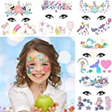 Unicorn+Mermaid Temporary Face Tattoos for Kids,10 Sheets Fake Temporary Face Paint Tattoos,Skin Safe Tattoos Sticker…