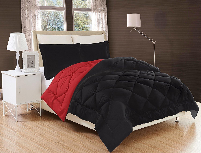 Elegant Comfort All Season Comforter and Year Round Medium Weight Super Soft Down Alternative Reversible 2-Piece Comforter Set Black//Burgundy Twin//Twin XL
