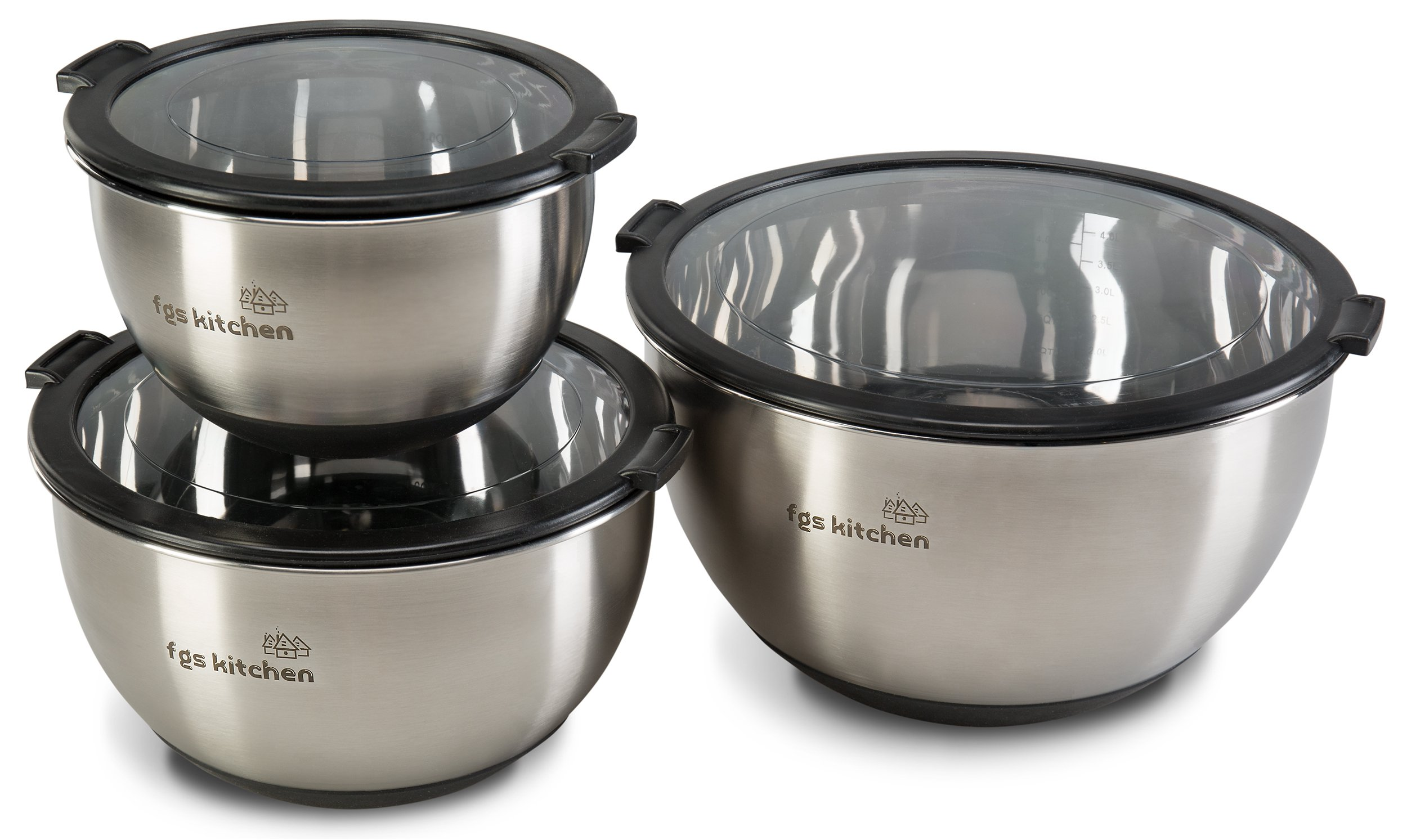 FGS Kitchen Mixing Bowl Set - Stainless Steel Mixing Bowls with Transparent Lids - Set of 3 Premium Non-Slip Nesting Bowls for Cooking, Baking, Serving and Storage by FGS Kitchen