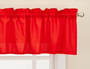 "LORRAINE HOME FASHIONS Ribcord Window Curtain Tailored Valance, 54"" x 12"", Red"