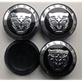 4 NEW * 59 mm Jaguar Black Alloy Wheel Centre Caps