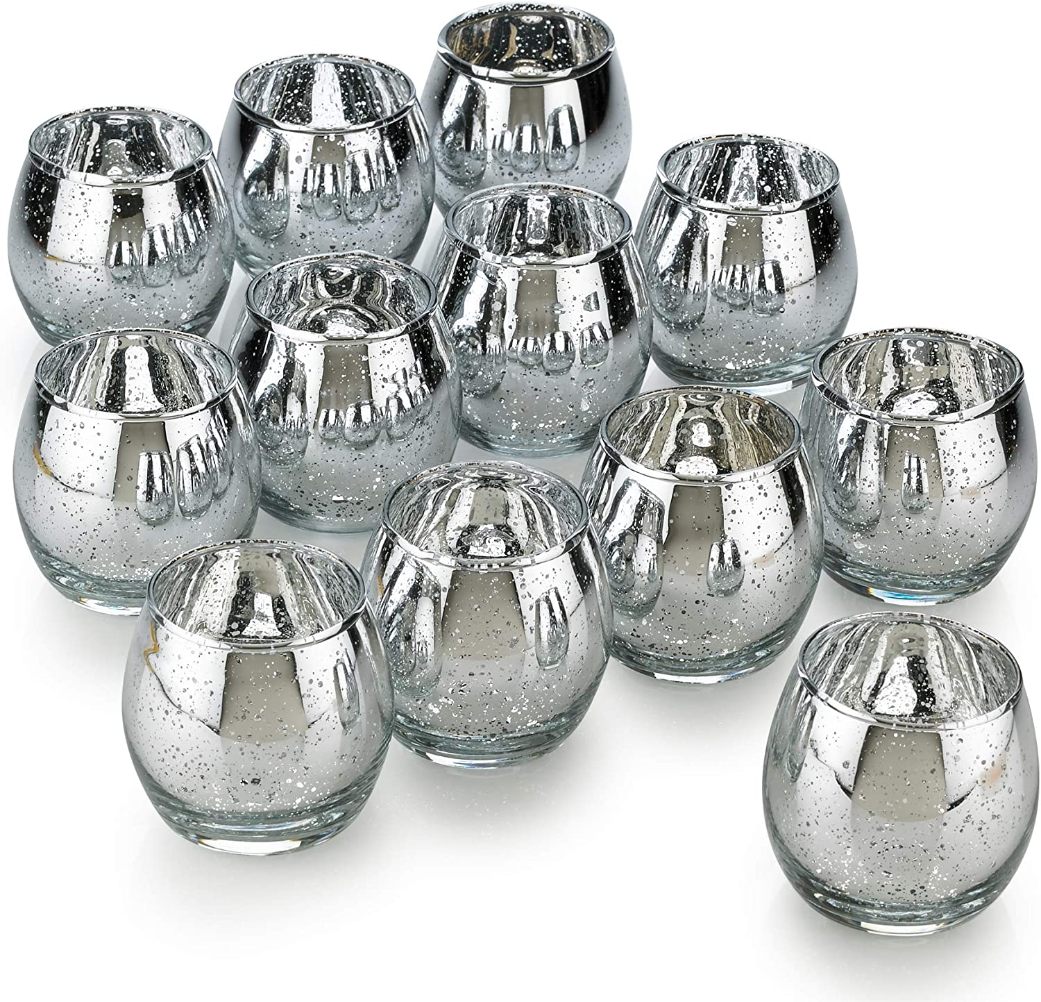PARNOO Hurricane Silver Candle Holders Mercury Glass for Votive Candles and Tealight Set of 12 – Sparkled Silver Finish Perfect for Wedding, Parties and Home Decor