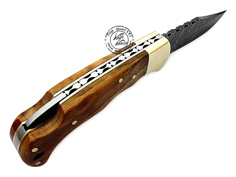 Olive Wood 6.5 100 Handmade Damascus Steel Folding Pocket Knife 100 Prime Quality