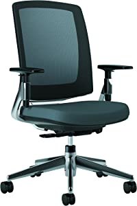 HON Lota Mid-Back Work Chair - Mesh Back Computer Chair for Office Desk, Charcoal with Aluminum Base (H2283)
