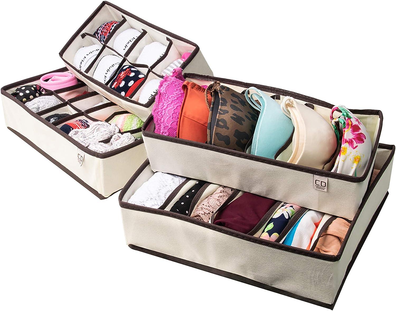 Underwear Drawer Organizer Organizers Dividers Storage Set Of 4 Drawers Closet For Women Men And Baby Clothes Organization Bra Socks Tie Belt Amazon Ca Tools Home Improvement