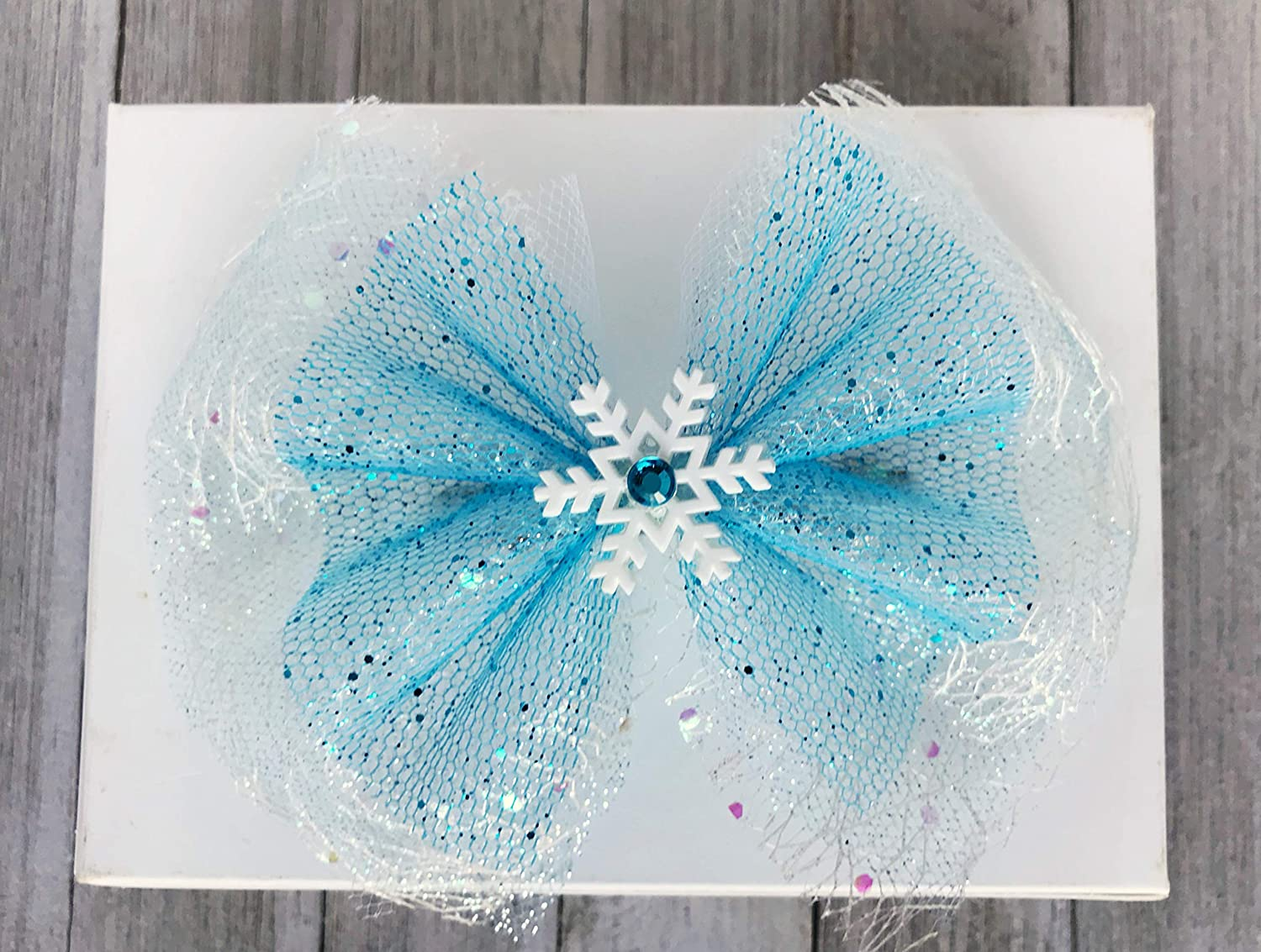 Teal Blue Snowflake Hair Bow or Headband Set,Winter Over the Top Bows,Snowflake Hairbow,Stacked Baby Headbands,Big Bows,Baby Girl Headband