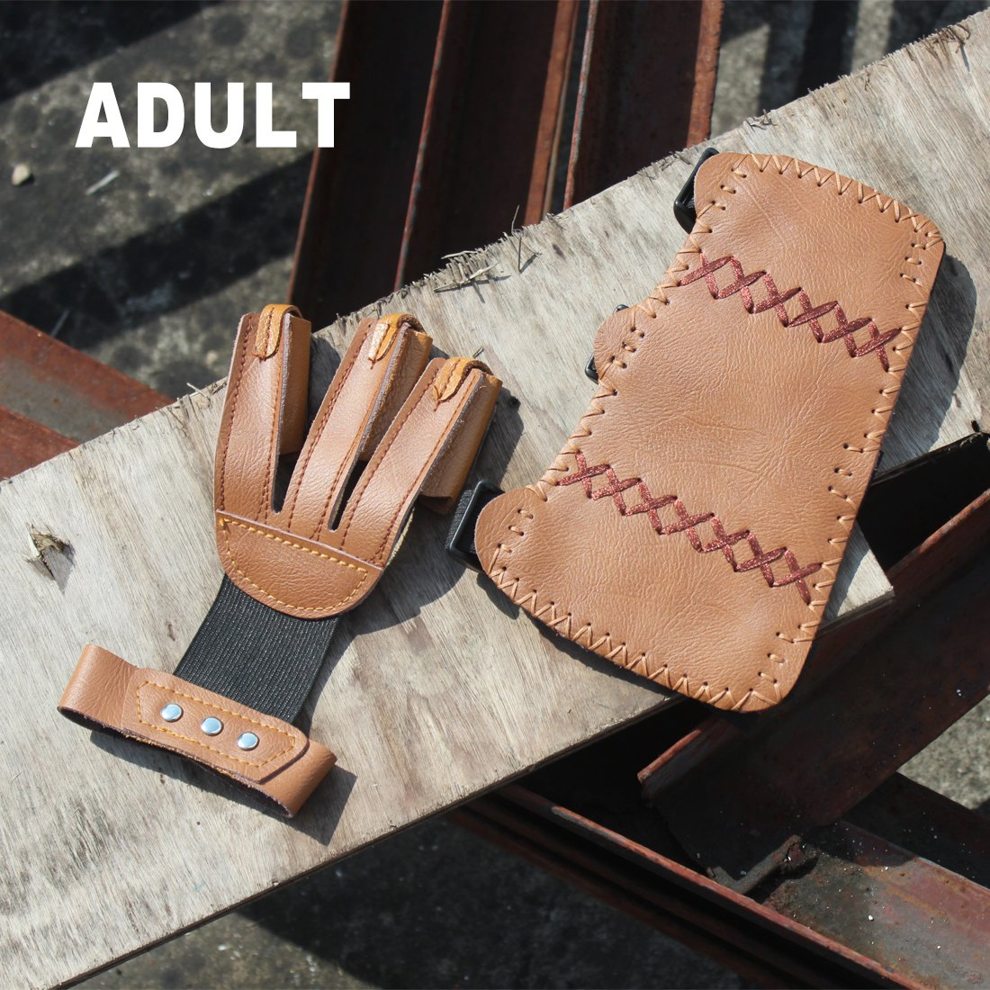 AMYIPO 3 Finger Protective Glove & 3 Straps Arm Guard (Brown (Arm Guard + Shooting Glove)) by AMYIPO