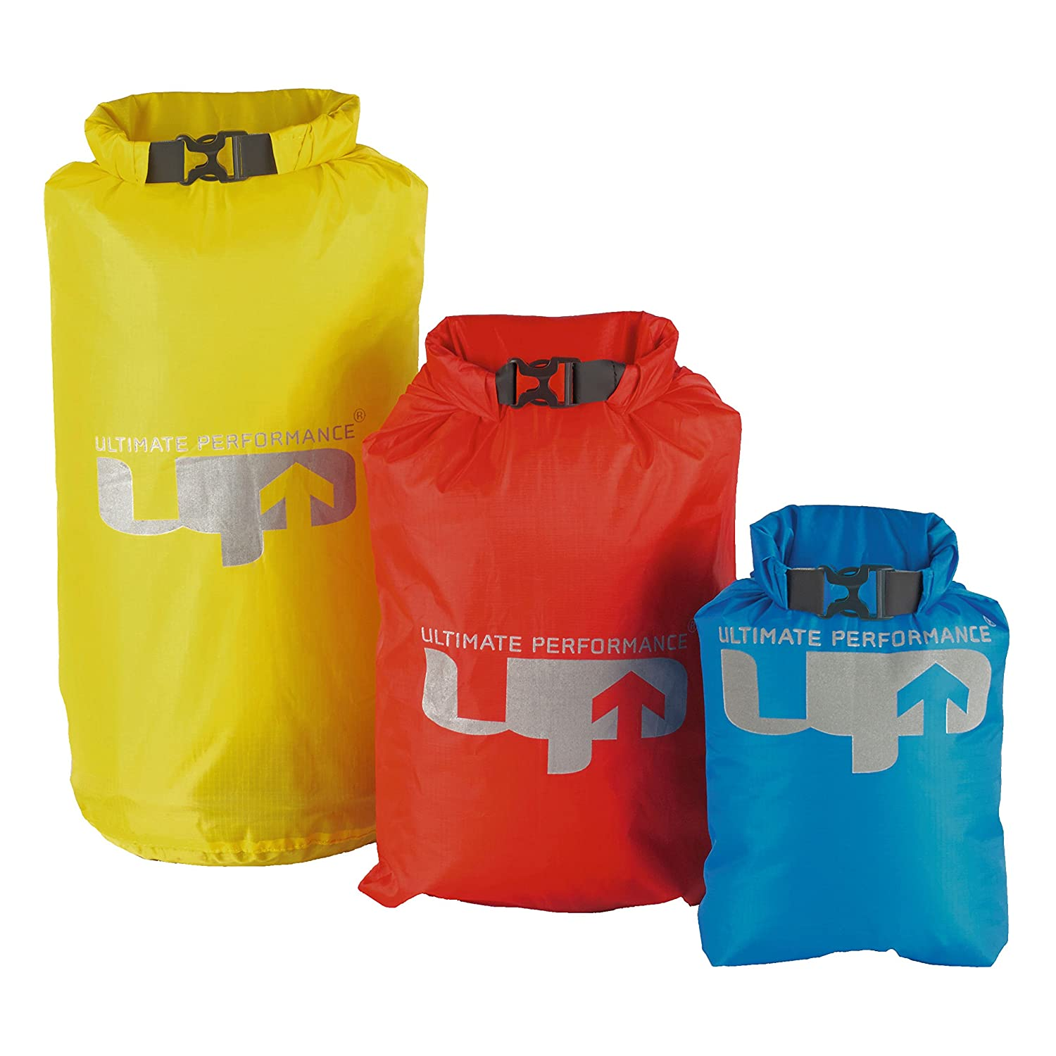 Ultimate Performance Water Resistant Stuff Sacks Outdoor 3 Set Dry Bag Available in Yellow/Red/Blue - 8/4/2 litres