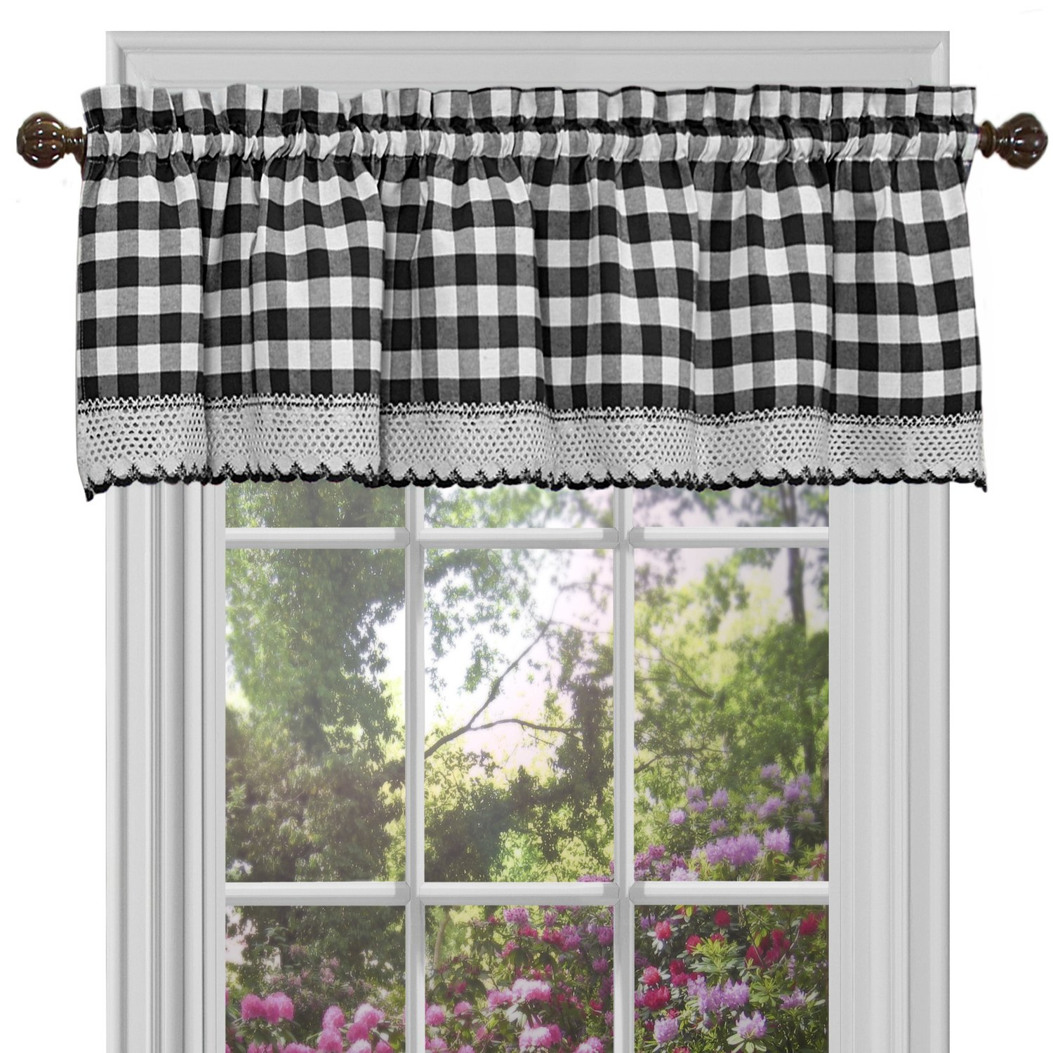 "Achim Home Furnishings Buffalo Check Window Curtain Valance, 58"" x 14"", Black & White"