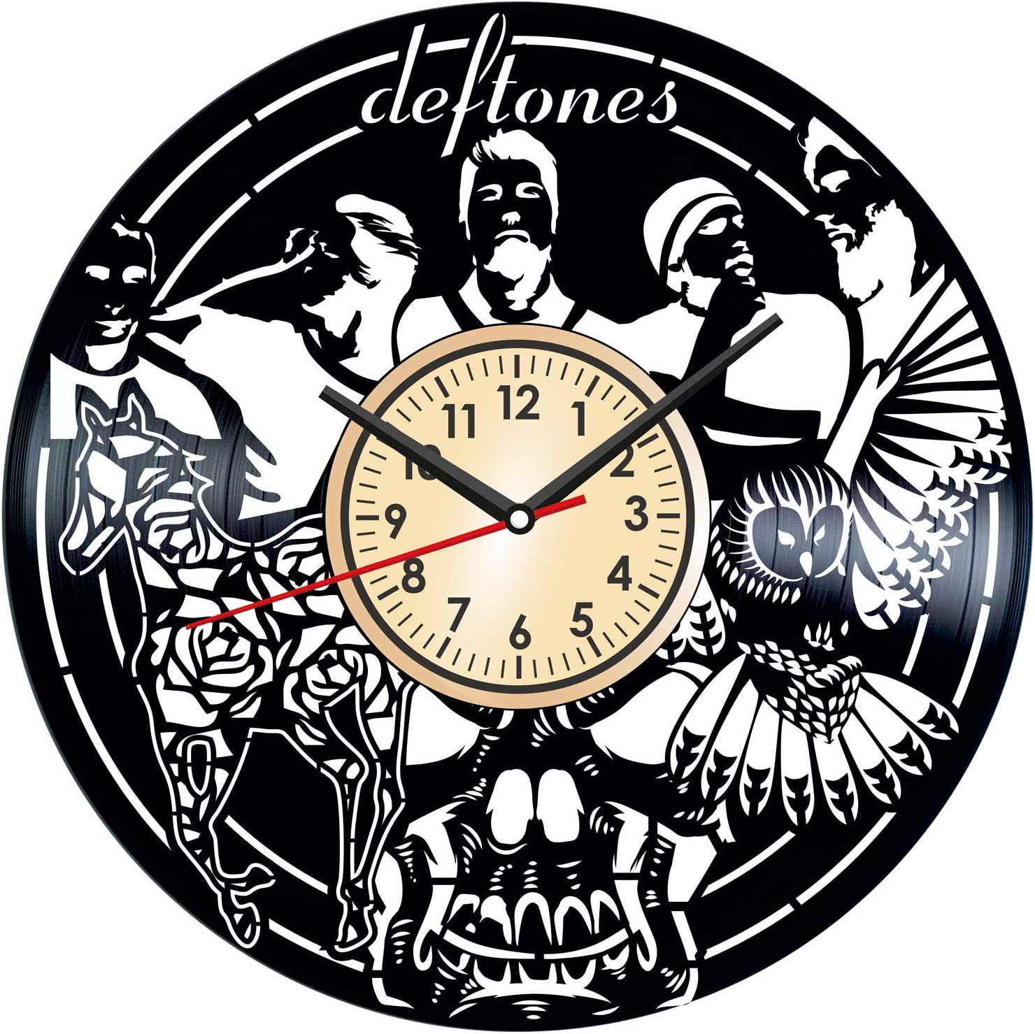 Deftones Vintage Vinyl Wall Clock Poster - Great Home Decor for Bedroom Kitchen Living Room Idea Birthday Christmas Anniversary for Him Her - Unique Wall Art - Size 12 Inches