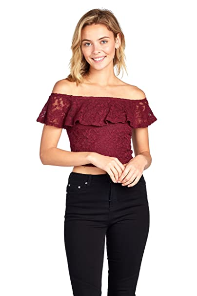 d51b810bb75c1d Women s Short Sleeve Lace Off Shoulder Ruffled Layered Crop Top (Small