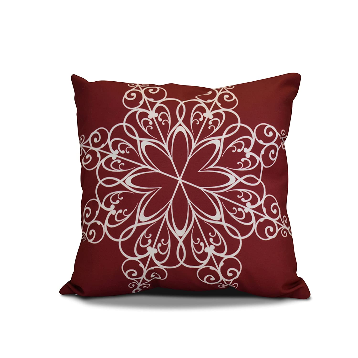 Decorative Holiday Pillow Cranberry E by design PHGN681RE6-18 18 x 18 inch Geometric Print