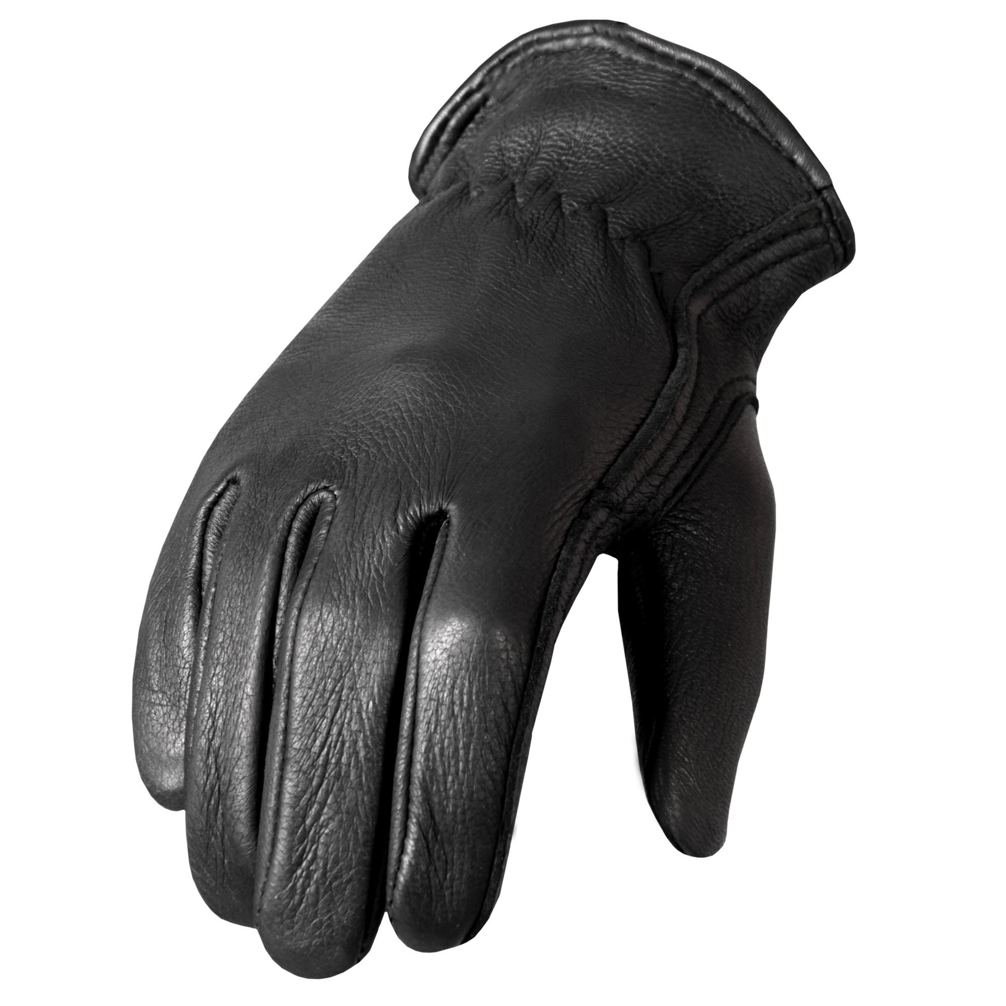 Hot Leathers Classic Deerskin Unlined Driving Gloves (Black, Medium)