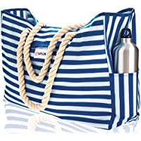 Beach Bag XL. 100% Waterproof. L17 xH15 xW6 (43x38x15cm) w Rope Handles, Top Magnet Clasp, Outside Pockets. Blue Stripes…