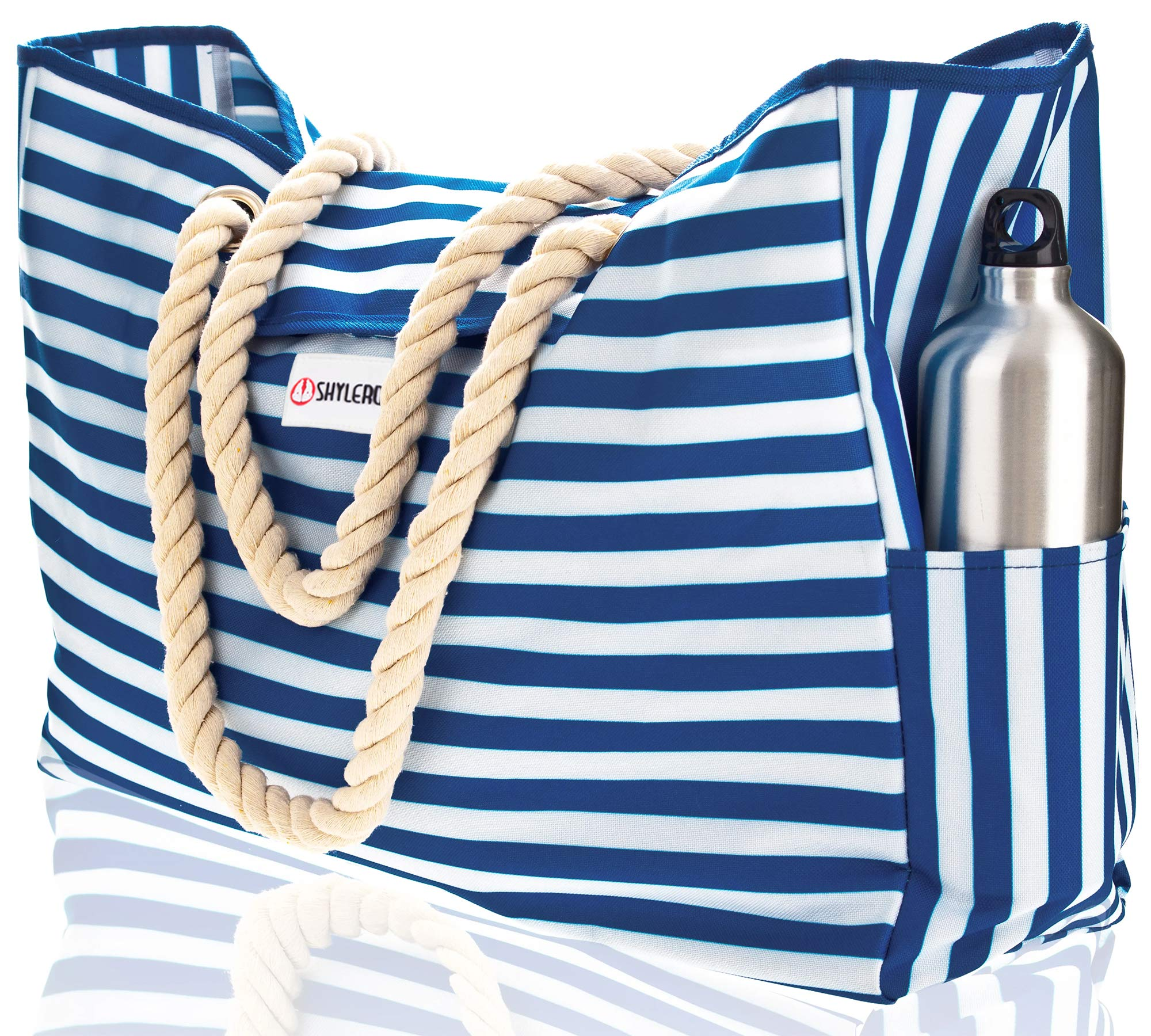 """Beach Bag XL. 100% Waterproof. L17""""xH15""""xW6"""" w Cotton Rope Handles, Top Magnet Clasp, Two Outside Pockets. Blue Stripes Shoulder Beach Tote Includes Phone Case, Built-In Key Holder and Bottle Opener"""