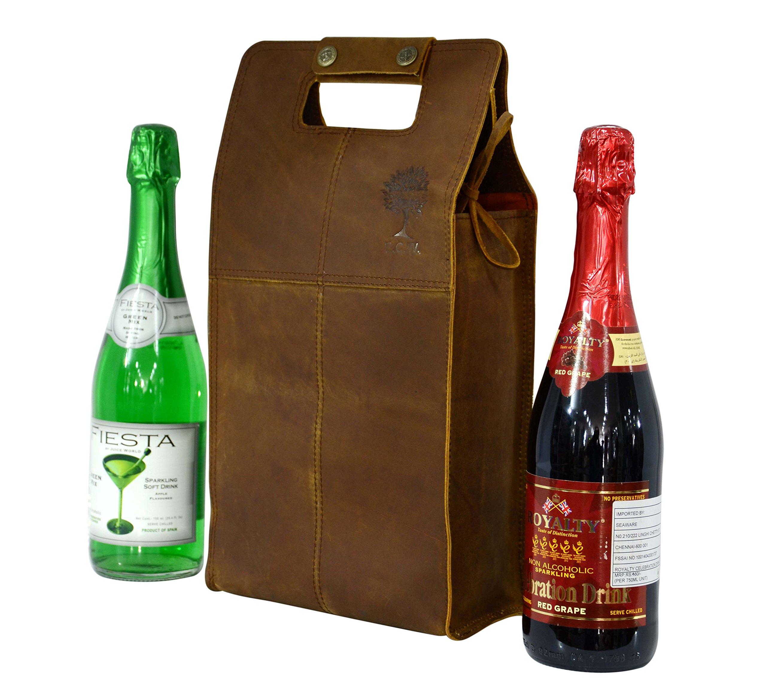 Double Wine Bottle Carrier Bag Leather Bottle Holder Tote Reusable Gift Bag Champagne Case, Valentines Gift Bag by ECOCRAFTWORLD (Image #1)