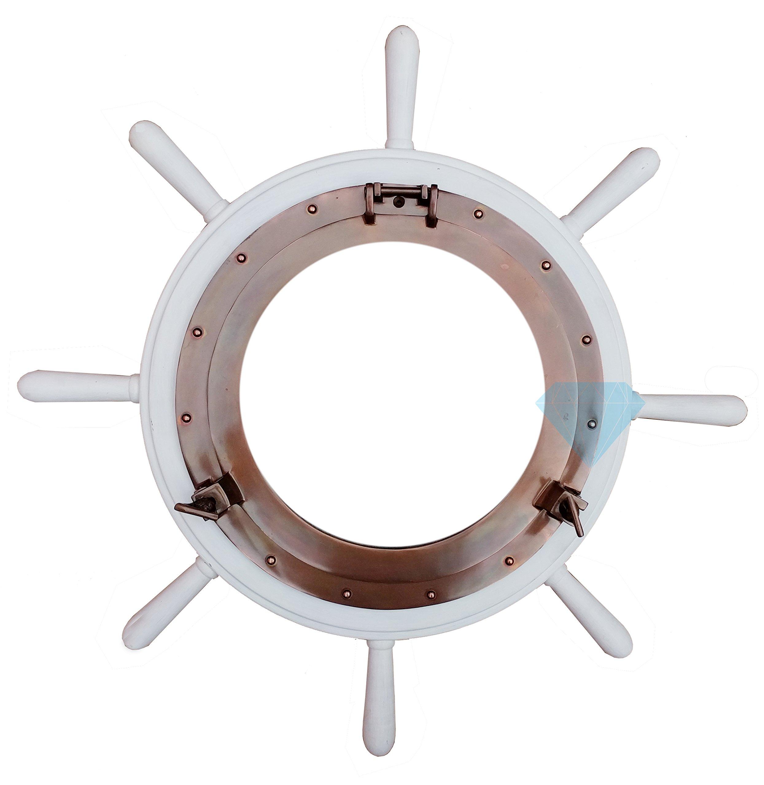 Classic White Nautical Ship Wheel With Antique Rustic Sparkling Porthole Mirror | Premium Home Decor | Maritime Ocean House Gift | Nagina International (42 Inches)