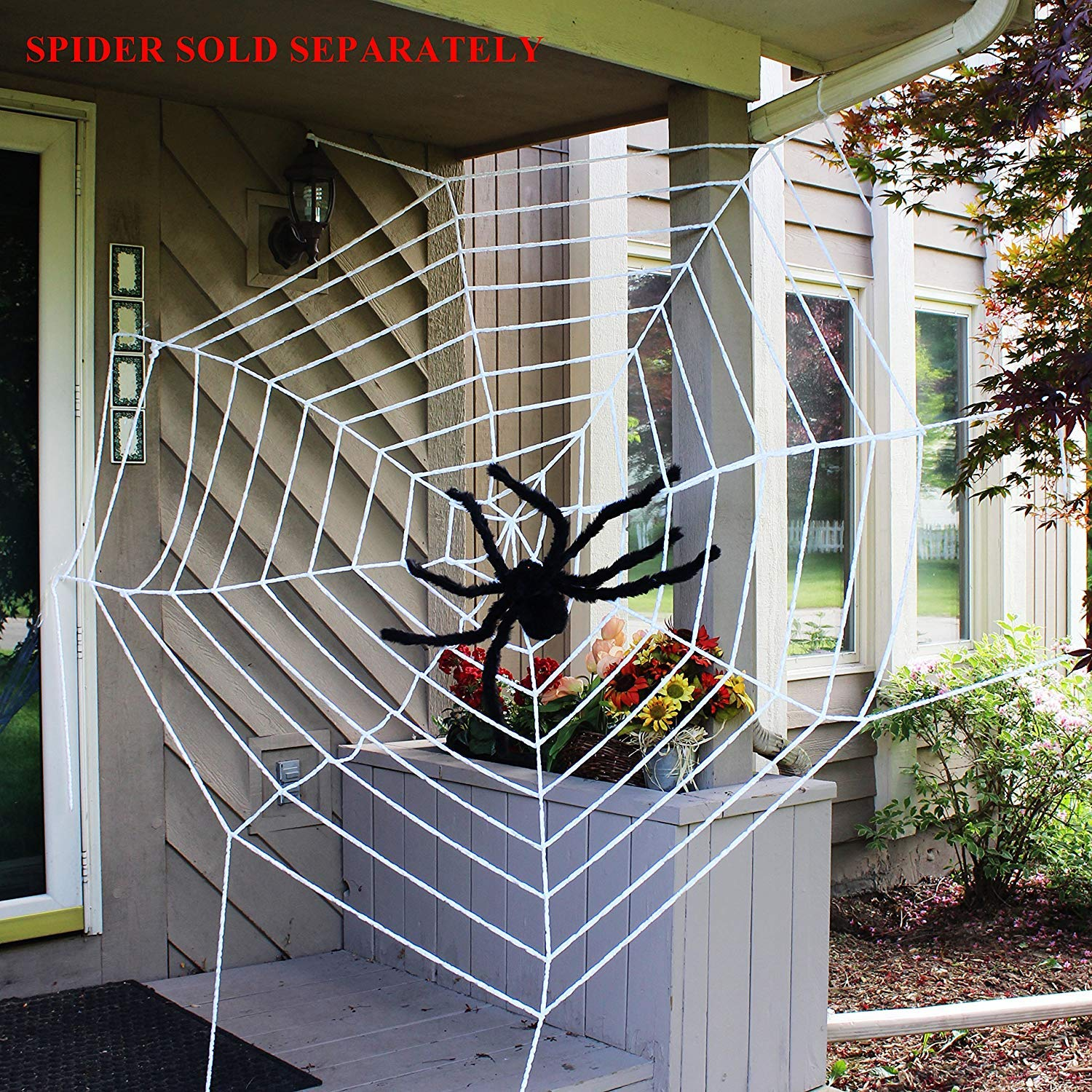 Halloween 2 Pack 9ft Mega Spider Web for Halloween Outdoor Yard Decoration - 1 Black and 1 White
