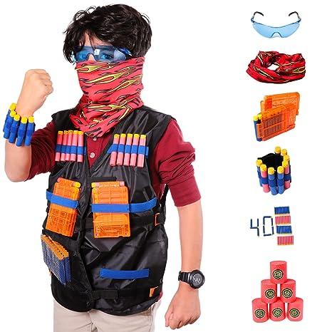 Tactical Vest Kit For Nerf Guns N-Strike Elite Series, 40 Refill Soft Tip