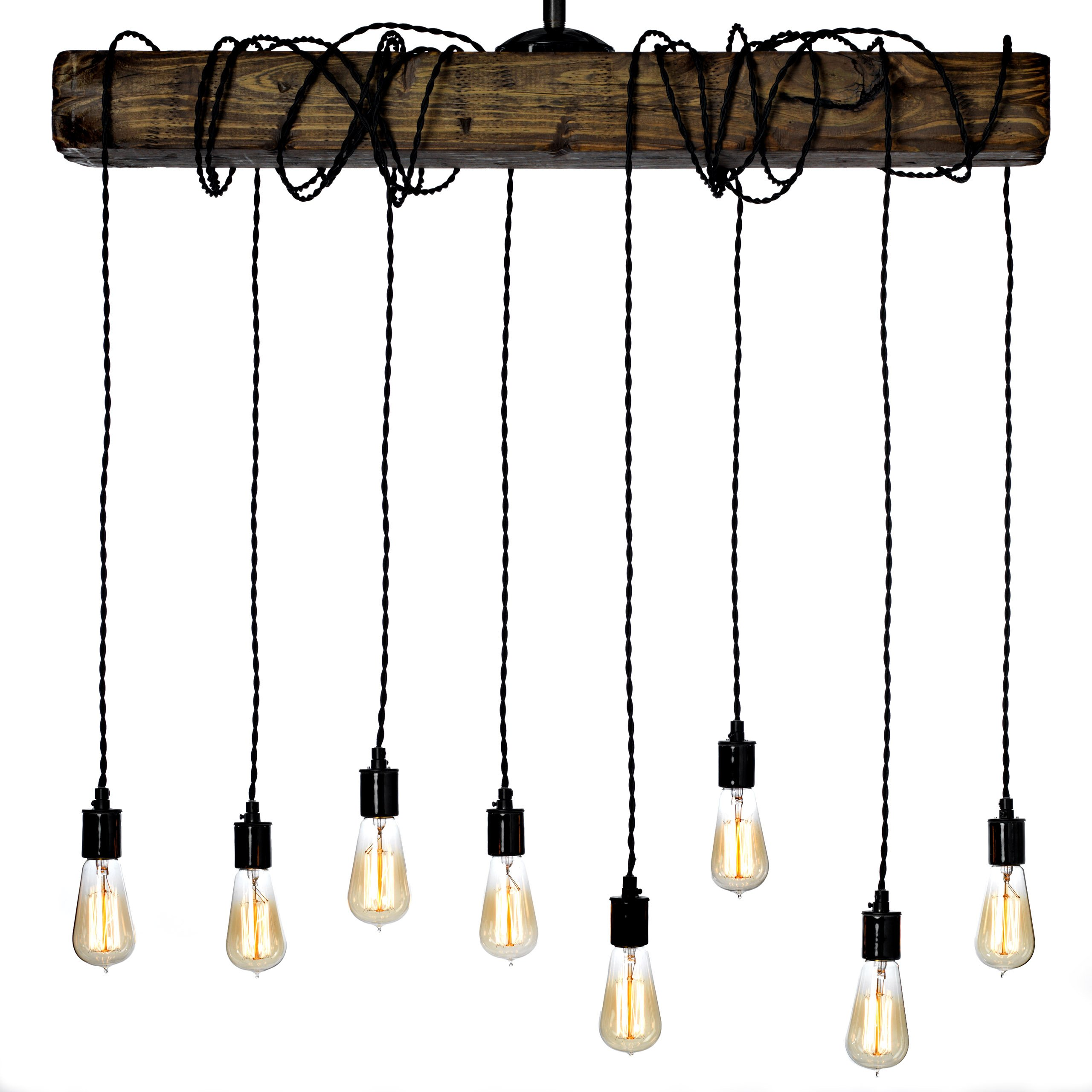 Farmhouse Style Light Fixture - Wrapped Wood Beam Antique Decor Chandelier Pendant Lighting - Vintage Kitchen, Bar, Industrial, Island, Billiard and Edison Bulb Decor. Natural Reclaimed Style Wooden by Barrister & Joiner Lighting