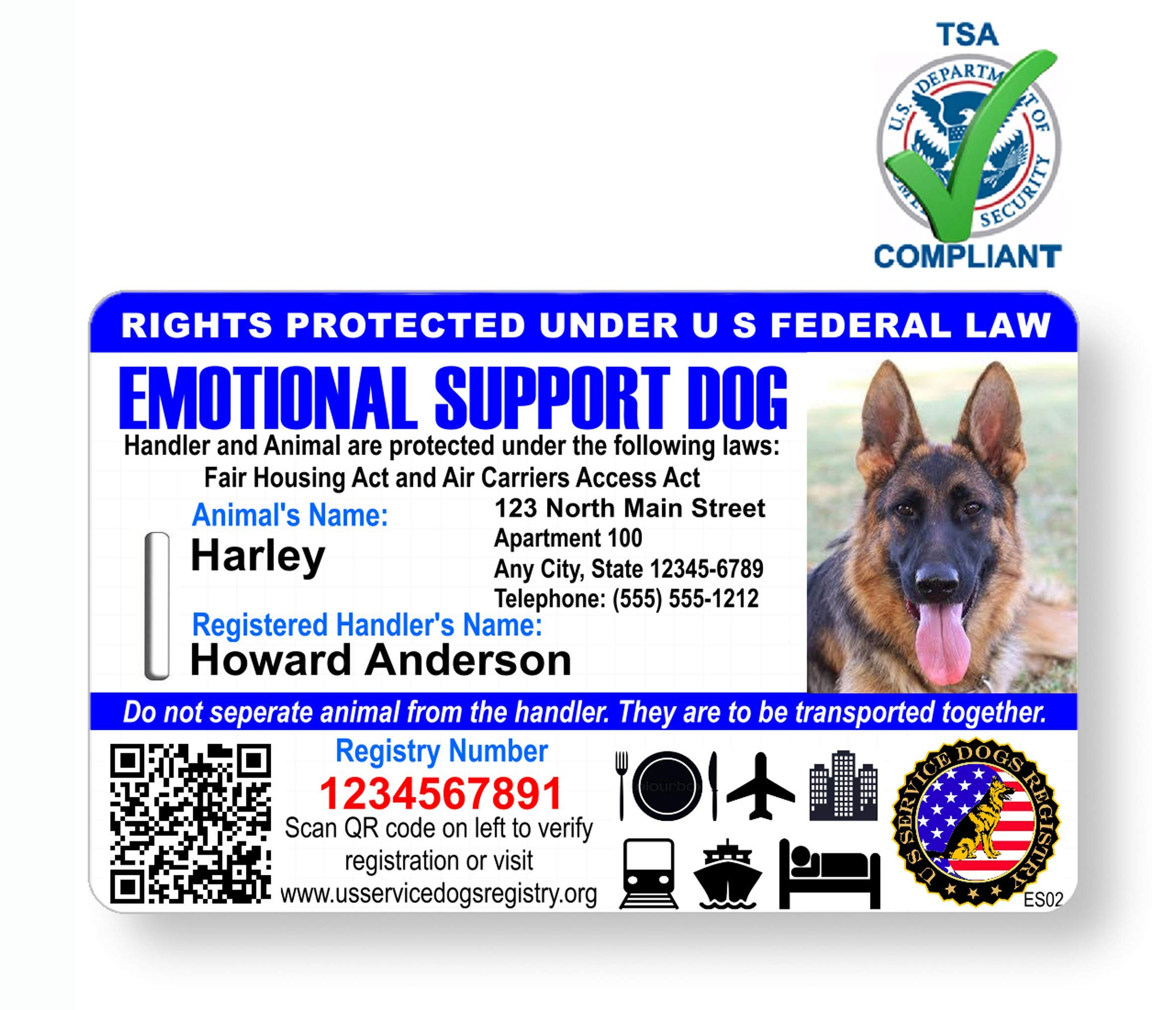 Just 4 Paws Custom Holographic QR Code Emotional Support Dog ID Card with Registration to Service Dogs Registry with Strap - Landscape Style by Just 4 Paws