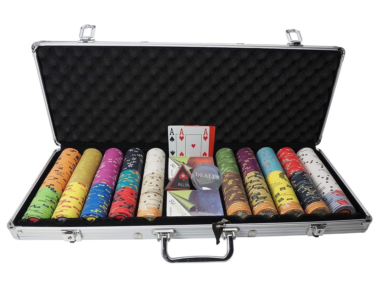 Pokerkoffer Pokerset Casino Profi Keramik Chips Sheriffstars edles Zubehö r Plastikkarten eigene Sortierung (300/0 Free Choice) suplaya