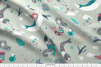 ff40563dc6 Spoonflower Mermaid Fabric - Mermaid Pajamas Girl Seahorse Coral Fantasy  Magical - by Nouveau Bohemian Printed