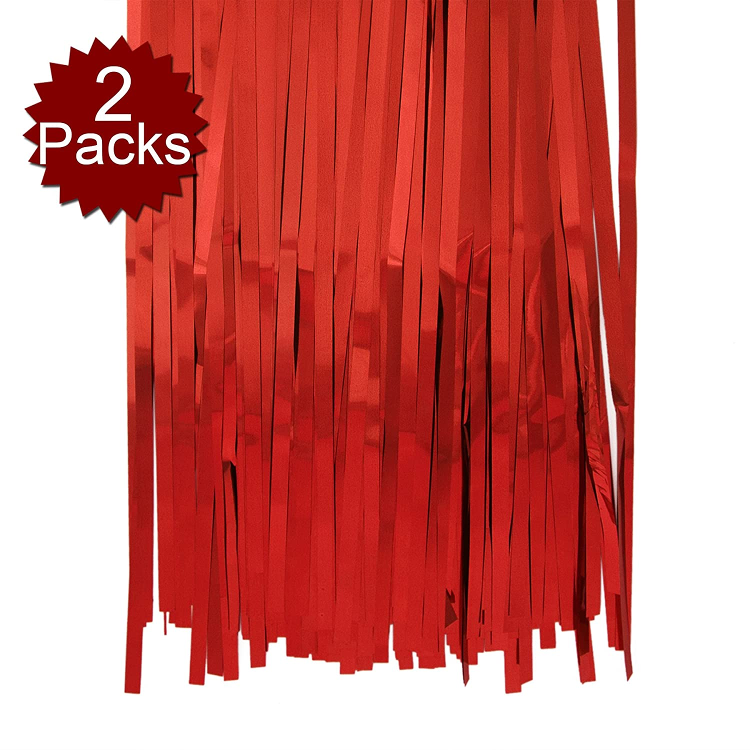 Aspire 2-Pack X 3ft X 8ft Foil Fringe Shiny Long Window Tinsel for Party Prom Birthday Event Decorations-Golden-3'x8' BB12152_GOLDEN-3X8