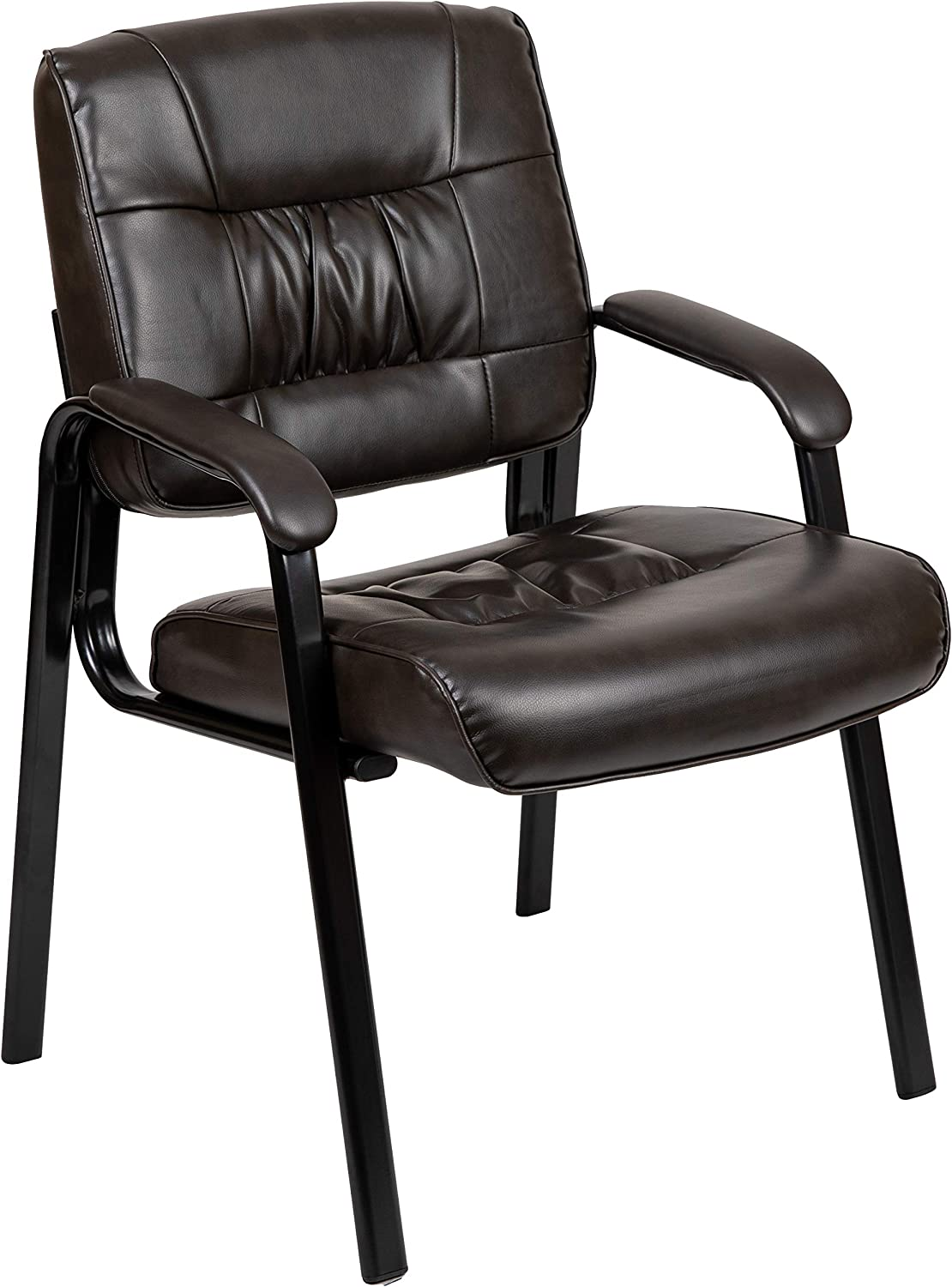 Flash Furniture Brown LeatherSoft Antimicrobial / Antibacterial Medical Side Chair with Black Metal Frame