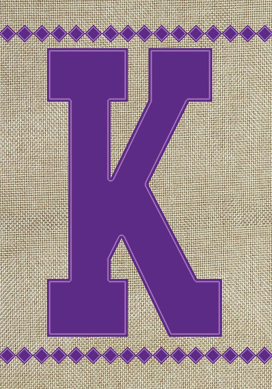 """Toland Home Garden 140020 Monogram K Burlap Flag, Garden 12.5"""" x 18"""", Letter - K"""