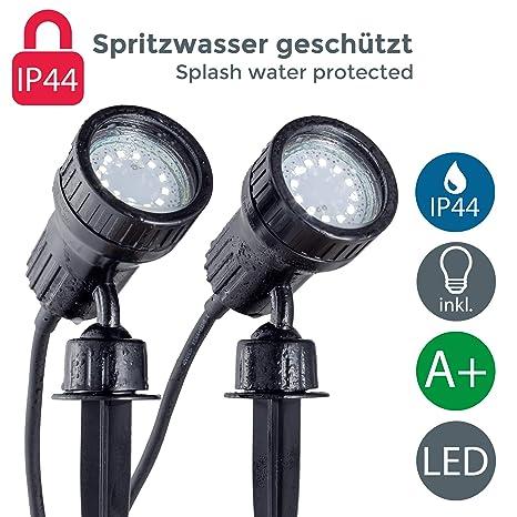 Bekannt B.K.Licht LED Gartenstrahler 2er Set inkl. 2x3W GU10, Erdspiess KA33