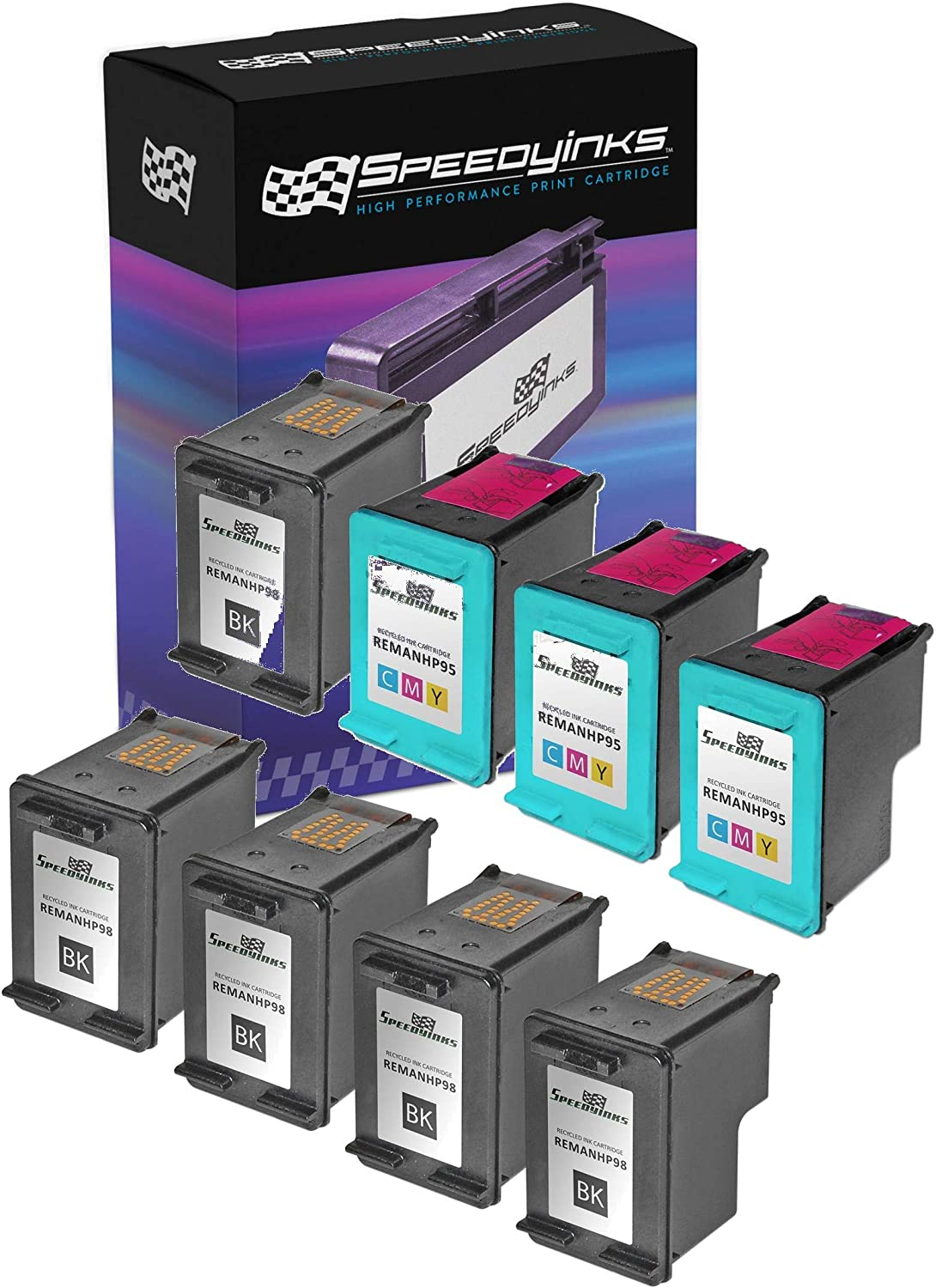 Speedy Inks Remanufactured Ink Cartridge Replacement for HP 98 and HP 95 (5 Black, 3 Color, 8-Pack)