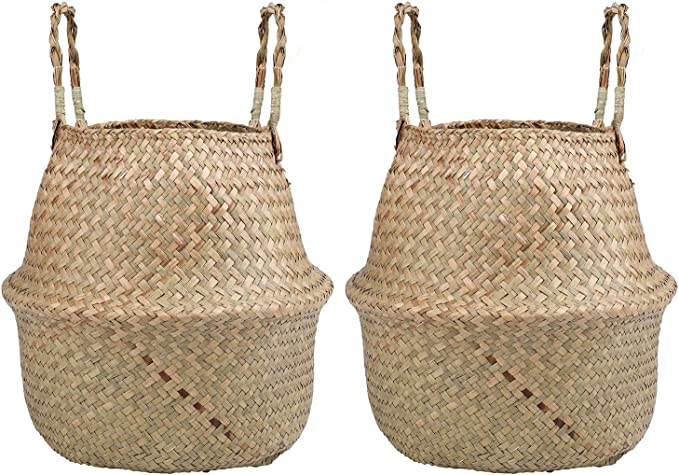 Lawei 2 Piezas Seagrass cesta de cesteria de mimbre plegable