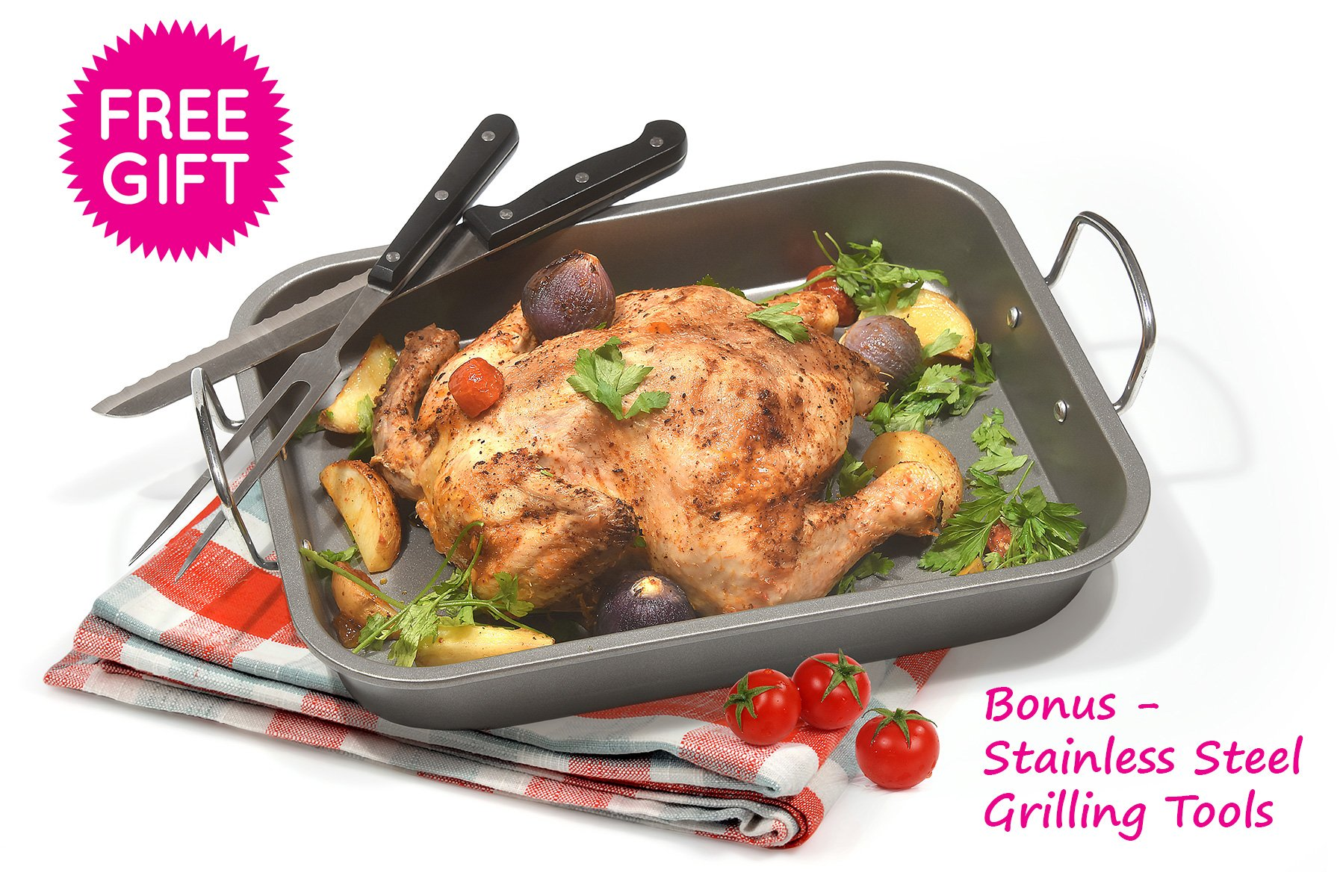 Fox Home Roasting Pan Set , Non-Stick, Carbon Steel Baking Dish With Bonus Serrated Meat Knife, Stainless Steel Fork by FOX HOME (Image #1)