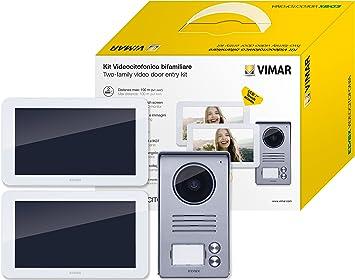 brit/ánico Monitor t/áctil manos libres Wi-Fi para kit de videoportero inteligente alimentador con clavijas intercambiables est/ándar europeo blanco americano y australiano Vimar K40947