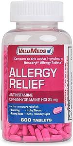 ValuMeds Allergy Medicine (600 Tablets) Antihistamine, Diphenhydramine HCl 25 mg |