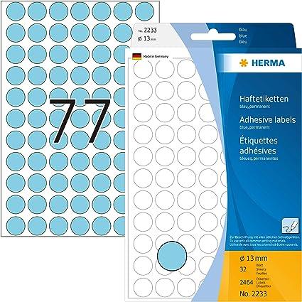 Vielzwecketiketten gelb Ø 13 mm rund Papier matt 2464 St.